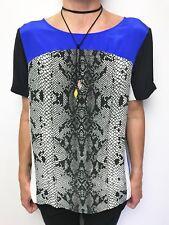 SHAKUHACHI silk short sleeve tunic top python print blue white black sz 10