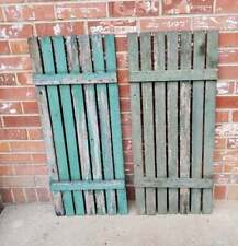 Vintage Antique Slat Wood Shutters Prim Chippy Green Paint 34.5x14.5 Set Of 2