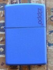 PLAIN ROYAL BLUE MATTE WITH LOGO ZIPPO LIGHTER FREE P&P FREE FLINTS