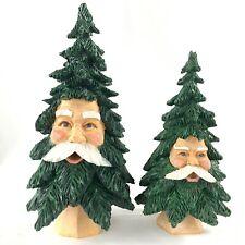 Lot of 2 Vtg Dept 56 Santa Face Christmas Tree Wood Carved Resin Retired