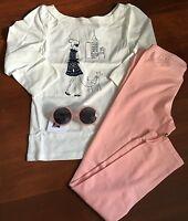 Nwt Janie And Jack 3 PiecE Set, Girls Top, Leggings And Sunglasses, Size 8 Pink