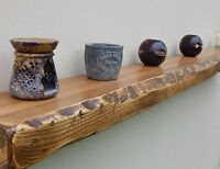 RUSTIC RECLAIMED floating SHELF wall mantel mantle fire surround live edge wood.