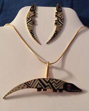 """""""Aleucian Alligators"""" Laurel Burch Earrings! & Brooch Set  Black & 22KT GP 1990s"""