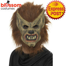AC152 Adults Brown Werewolf Mask Mens Ladies Halloween Wolf Costume Accessory