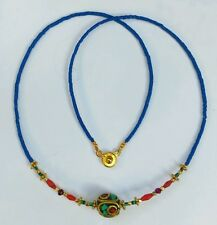 Afghan Lapis, Malachite, Coral, Garnet Tiny Seed Beads Nepal Pendant Necklace