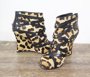 House of Harlow 1960 Wedges Booties Ava Sahara Size 36 AU 5 Leopard Cheetah