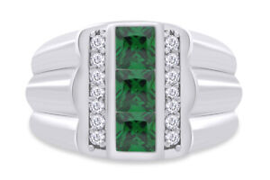 Emerald & Simulated Diamond Men's Band Ring 14K Gold Over Sterling Silver