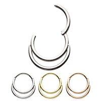 DOUBLE HOOP STEEL HINGED SEGMENT RING HOOP NOSE/LIP/EAR/SEPTUM PIERCING (18G)