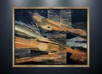 RENE FUMERON (1921-2004) INEDITE PEINTURE COMPOSITION ABSTRAITE VERS 1970  (5)