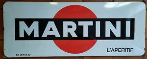 Plaque émaillée MARTINI 38x97cm Pub vox paris 1967 Bar Restaurant Cafe Aperitif
