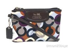 New Coach Madison Signature Sateen & Leather Purple Ivory Brown Wristlet 46668