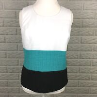 Perceptions New York Women's Blouse Size 8 Career Color Block Sleeveless Zipper