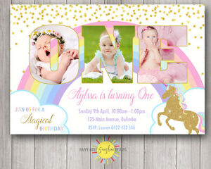 Custom Printable Girls Birthday Photo Words Invitation 1st Unicorn Rainbow Stars