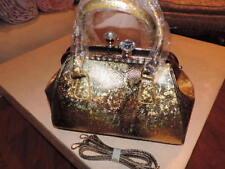 Women Purse Handbag Crossbody Sparkling Gold Tone Snake Print New Rhinestones