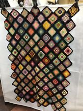 Vintage Wool Granny Square Crochet Afghan Blanket Throw Black 58 X 38""