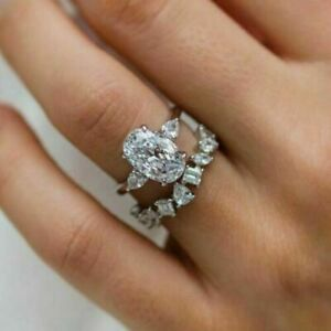 4.9CT Oval Cut Diamond Bridal Set Engagement Ring Wedding 14K White Gold Filled