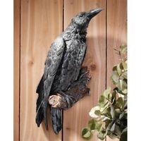 "Mini Miniature Gothic Black Raven Crow On Log With Key Figurine 2.5/"" High New!"
