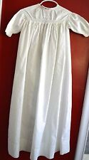 ANTIQUE VINTAGE CHRISTENING GOWN DAMASK COTTON WHITE EYELET LACE EMBROIDERY