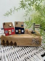 Handmade Driftwood Cottages Wooden Ornament With Log Pile Fence On The Front