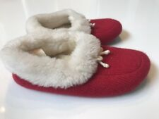 Girls Janie and Jack Red Faux Fur Slippers Size 12 13 Christmas Capsule