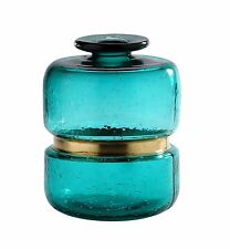 "New 9"" Hand Blown Art Glass Vase Bottle TQ Bluegreen Decorative"