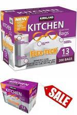 "Kirkland Signature Drawstring Kitchen Trash Bags -13 Gallon 200 Count 24"" x 27"""