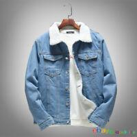 Men Winter Artificial Lamb Wool Liner Lapel Coat Denim Coat Jean Jacket Outwear