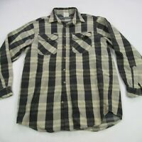 Carhartt Mens Long Sleeve Button Front Brown Shirt Large Relaxed Rugged Plaid