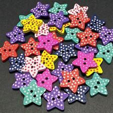 100PCS Colores Botones De Madera Forma Estrella Botón 2 Agujeros Manualidades