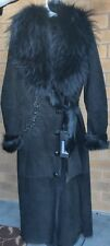 Luxury Beautiful Goat skin Full Length Coat with Silver Fox Fur Collar
