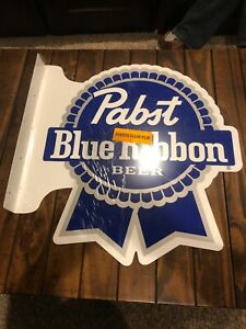 "Pabst Blue Ribbon Beer Bar Tavern Gas Oil 2 Sided 22"" Metal Flange Sign"