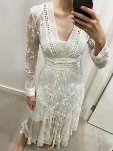 Zimmermann White Embroidered Long Dress size 1