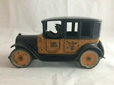 ANTIQUE #1 ARCADE YELLOW TAXI CAB CAST IRON 1920's ORIGINAL PAINT TOY TAXI 9""