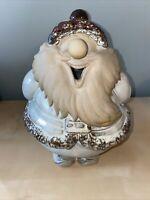 "Unbranded Stoneware Pottery Santa Figurine- Tan Brown White- 11"" Tall"