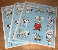 3 sheets 1971 Snoopy Woodstock Stickers Friends Vintage Hallmark Peanuts Schultz