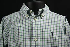 RALPH LAUREN 2 2T Long Sleeve Button Down Wht Grn Purple Chk Shirt Preppy