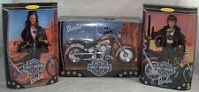 Harley Davidson #2 & #3 Barbie Dolls & Fat Boy Motorcycle #1 1999 NRFB 1:6 Scale