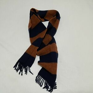 Polo Ralph Lauren Striped Wool Logo Fringe Blue Orange Scarf Made in England