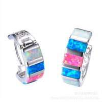 Fashion Women Silver Filled Multicolor Fire Opal Hoop Earrings Wedding Jewelry