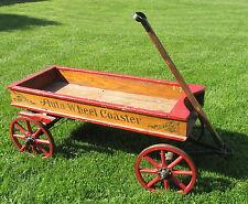 Antique 1915 Chicago Auto Wheel Coaster Stencil Childs Wood Wagon w/Brake