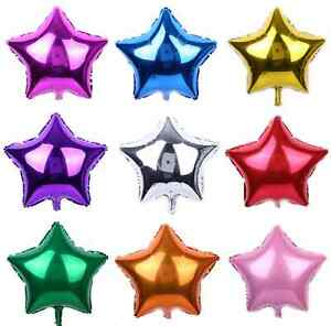"1-10 5"" 10"" 18"" 24"" Star Solid Foil Balloon Helium Ball Baby Shower Graduation"