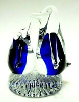 "VINTAGE HAND BLOWN ART GLASS 4"" PENGUINS PAPERWEIGHT FIGURINE CLEAR COBALT BLUE"