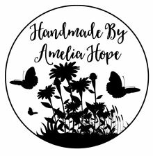 Personalised Laser Rubber Stamp - Handmade By - Butterfly Silhouette