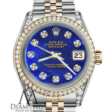 Men's Rolex 36mm Datejust 2 Tone Blue Color Treated MOP Mother Of Pearl Diamond