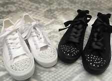 Black Or White Mono Converse Customised With Pearls&Diamanté Wedding Prom  3-9
