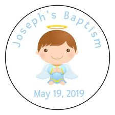 12 Personalized Boy baptism christening stickers favors labels tags angel round