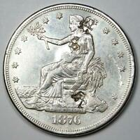 1876-CC Trade Silver Dollar T$1 - AU Details with Chop Marks - Rare Coin!