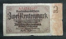 OLD BANK NOTE OF THIRD REICH GERMANY 2 RENTENMARK 1937 NO. A52542407