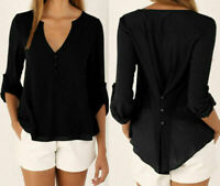 Womens OL Lady Chiffon Shirt Summer Long Sleeve Blouse V-Neck Tops T-Shirt