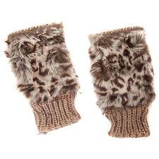 Brown Fingerless Fashion Gloves with Leopard Print Faux Fur Detail